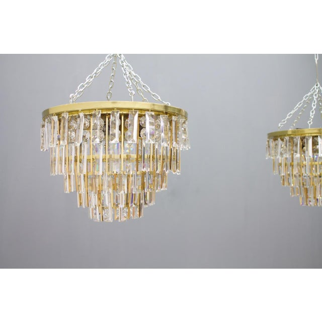 Pair of Crystal Glass Flush Mount Chandelier by Palwa, Germany, 1970s For Sale - Image 6 of 11