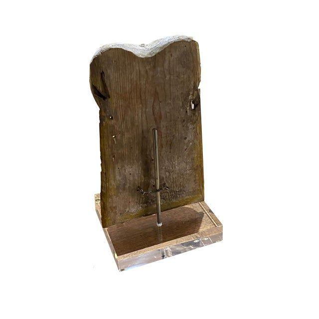 Antique Carved Fragment on Lucite Stand For Sale In Dallas - Image 6 of 7