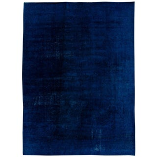 Vintage Blue Distressed Overdyed Rug For Sale