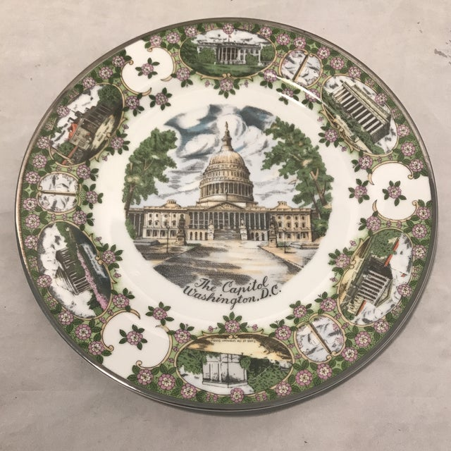 "1960s 1960's ""The Capitol"" Decorative Souvenir Wall Plate For Sale - Image 5 of 5"