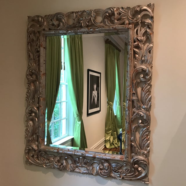 Antiqued Silver Brocade Large Wall Mirror Antiqued silver paint on a brocade framed mirror. Excellent condition. For...