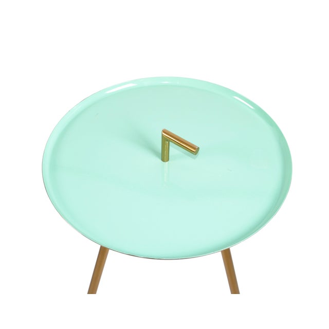 Mid-Century Modern Round Three-Legged Brass & Turquoise Enamel Side Table 1950s For Sale - Image 4 of 13