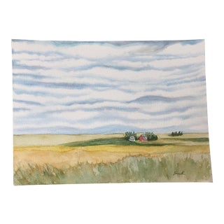 "Final Price! ""Asperitas Over the Field of Dreams"" Original Landscape Watercolor Painting by Nancy Smith For Sale"