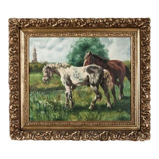 Antique Framed Dutch Oil Painting on Canvas by G. Diervjck, Dated 1907 For Sale