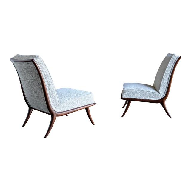 T.H. Robsjohn-Gibbings for Widdicomb Slipper Chairs - a Pair For Sale