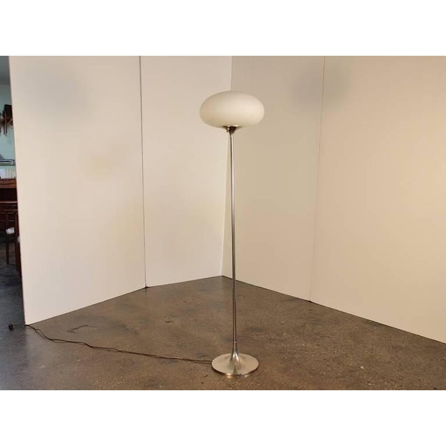 Beautiful vintage Laurel floor lamp has a chrome base and a milky frosted glass shade in the classic Laurel mushroom...