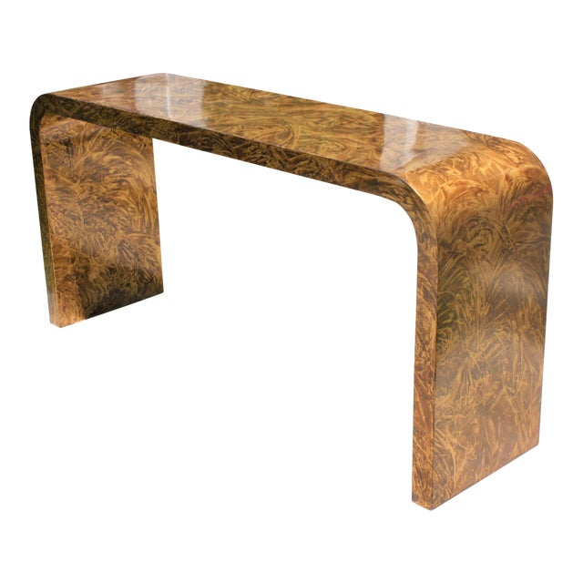 Faux Tortoise Waterfall Console Table in the Style of Karl Springer For Sale