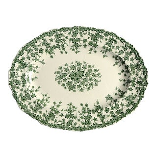 """Crown Ducal Early English Ivy Green 10"""" Oval Serving Platter For Sale"""