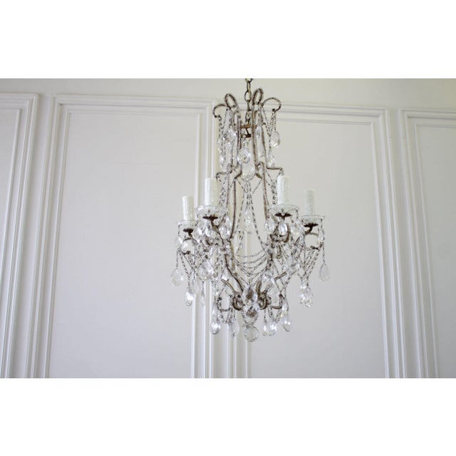 French Country Vintage Macaroni Beaded Arm Chandelier For Sale - Image 3 of 11