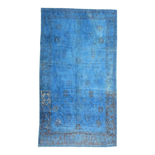 """Cobalt Blue Overdyed Vintage Rug - 6'4"""" x 10'6"""" For Sale"""