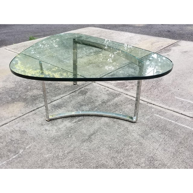Mid-Century Modern Italian Glass & Chrome Boomerang Style Coffee Table - Image 2 of 10