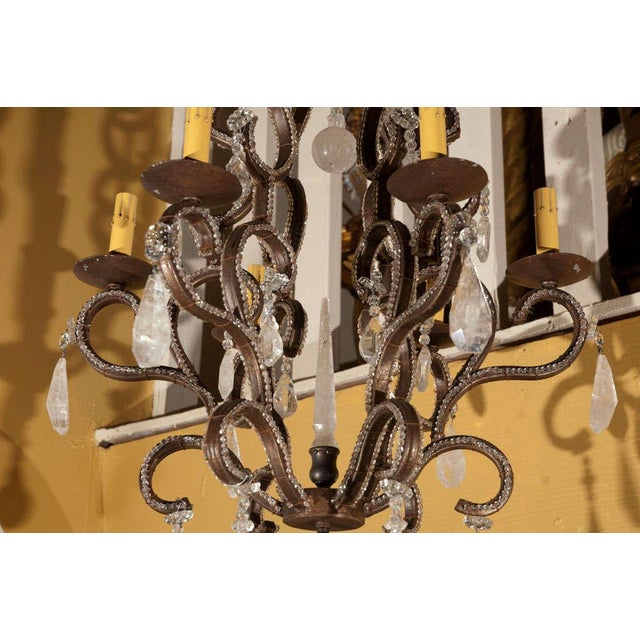 1980s 1980s Six-Light Iron and Rock Crystal Chandelier For Sale - Image 5 of 8