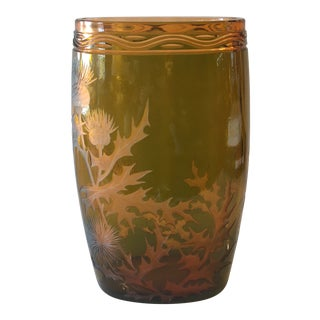 French Art Deco Etched Amber Glass Vase For Sale