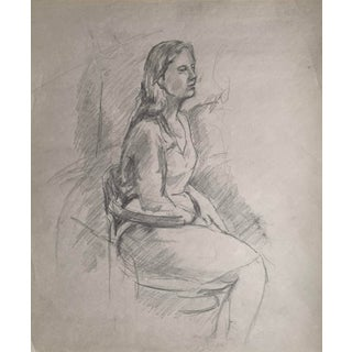 Signed Woman Portrait Drawing For Sale