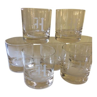 """""""H"""" Monogramed Double Old Fashion Glasses - Set of 7 For Sale"""