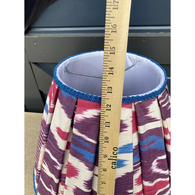 Boho Chic Pleated Ikat Lampshade For Sale - Image 3 of 6