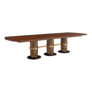 Hollywood Regency Henredon Furniture Jeffrey Bilhuber Colonnade Row Golden Mahogany Triple Pedestal Dining Table For Sale