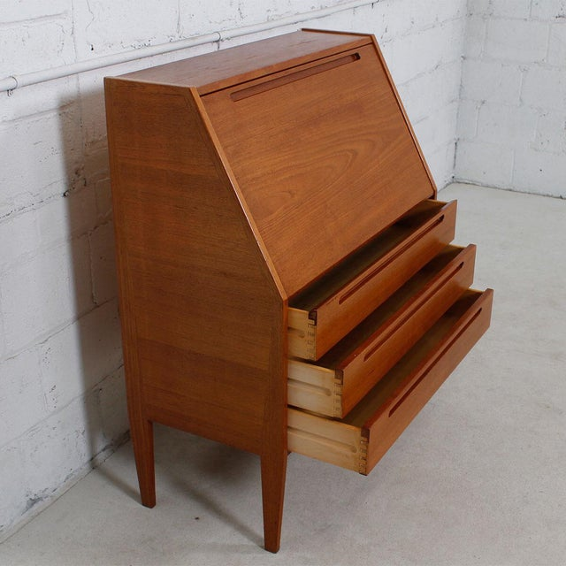 Danish Modern Teak Drop Front Secretary Desk - Image 9 of 10