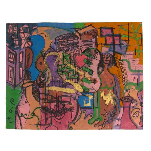 French Abstract Pastel With Nude - Image 1 of 2