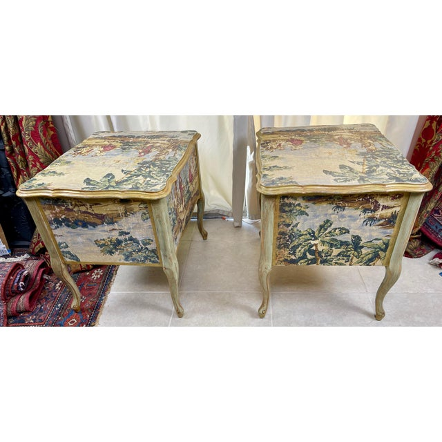 1960s Night Stands Decoupaged With Idyllic Scene - a Pair For Sale - Image 4 of 11