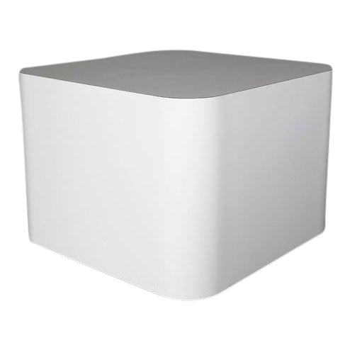 Custom Made White Laminate Cubic End Table or Pedestal, Large For Sale
