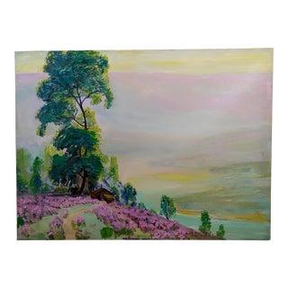 James Arthur Merriam -Sundown Landscape With Cottage - Oil Painting For Sale