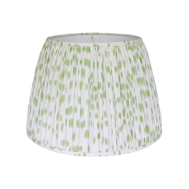 Green Print Pleated Lamp Shade For Sale
