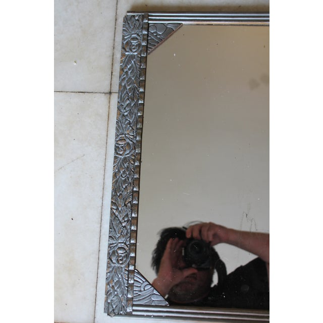 Art Deco Antique French Art Deco Carved Wood Distressed Silver Wall Mirror C1920's For Sale - Image 3 of 10