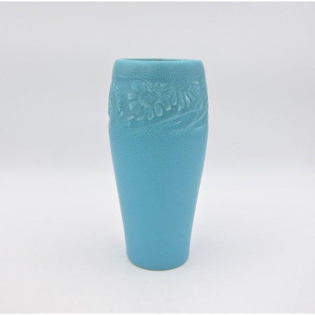 1930 Vintage Rookwood Pottery Arts & Crafts Blue Sunflower Vase For Sale - Image 12 of 12
