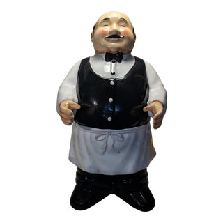 Jennifer Brinley Certified International Ceramic Butler Statue/Chalkboard Holder For Sale
