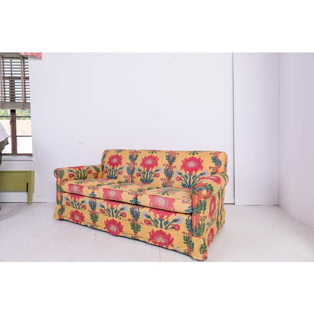 Yellow 1980s Vintage Patterned Sofa For Sale - Image 8 of 8