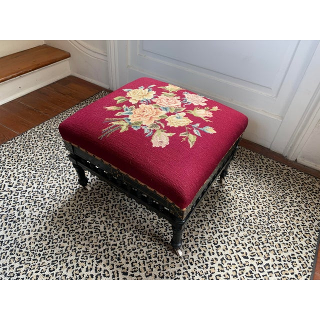 Red Ebonized Aesthetic Movement Tabouret on Casters For Sale - Image 8 of 8