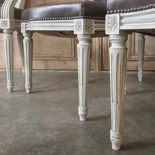 Set of 8 Antique French Louis XVI Dining Chairs Includes 2 Armchairs For Sale - Image 4 of 13