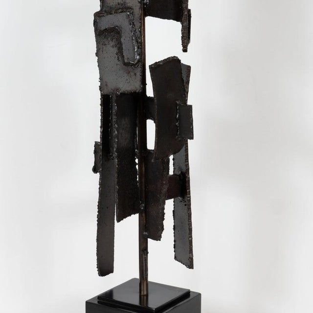 1970s Mid-Century Brutalist Iron Mosaic Table Lamps by Harry Balmer for Laurel Company - a Pair For Sale - Image 5 of 9