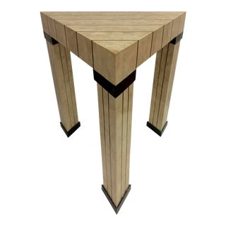 1980s Mid-Century Modern Maitland Smith Brass Inlay Triangle Table For Sale