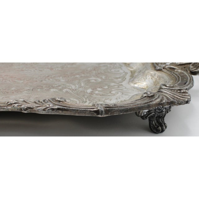 Late 19th Century Large 19th Century Silver Plate Footed Serving Tray With Handles For Sale - Image 5 of 9