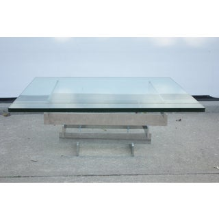 1970s Mid-Century Modern Geometric Stacked Chrome Beam Glass-Top Coffee Table Preview
