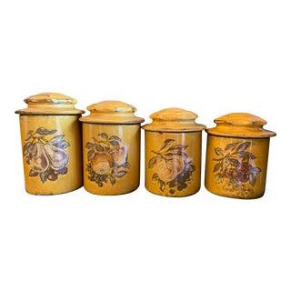 Vintage Harvest Gold Canister Set - 4 Pieces For Sale