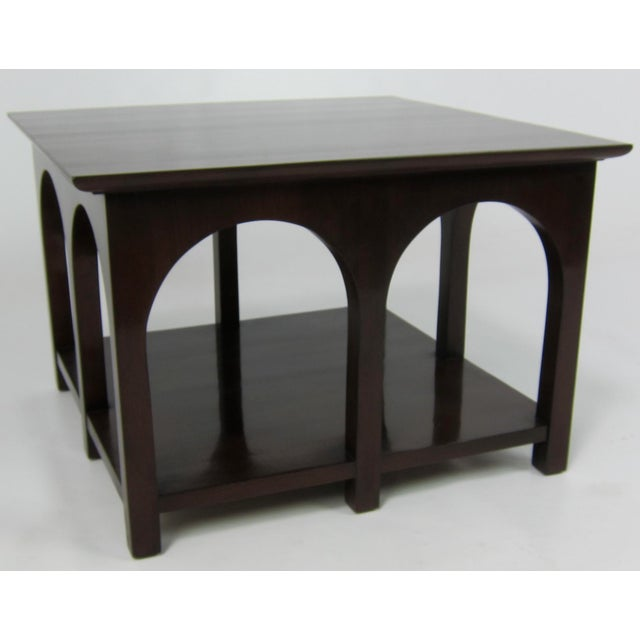 Rare Portico Side table by T.H. Robsjohn-Gibbings for Widdicomb. Refinished in Dark Brown lacquer. Please browse our...