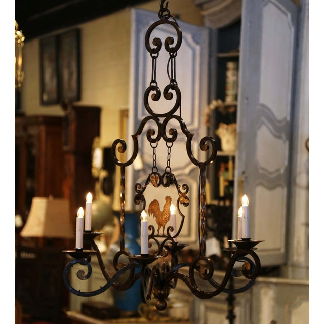 Early 20th Century French Six-Light Iron Chandelier With Center Rooster For Sale - Image 12 of 13