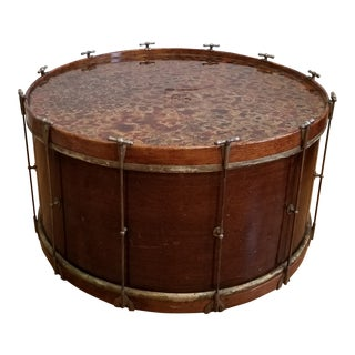 Early 20th Century Antique Maple & Resin Bass Drum Coffee Table For Sale