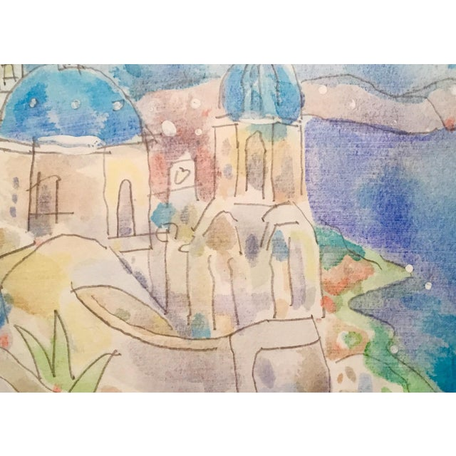 Mykonos Original Watercolor Painting - Image 2 of 2