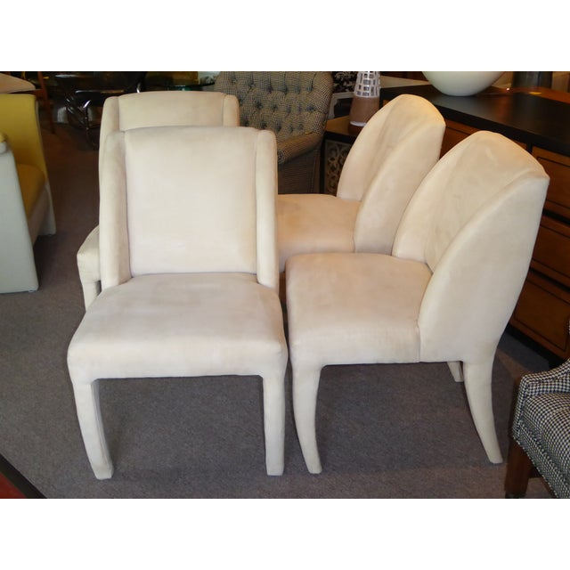 Directional 1980's Directional Scupltural Ultra Suede Modern Dining Chairs - Set of 4 For Sale - Image 4 of 13