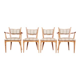 Edmond Spence Swedish Modern Sculpted Tiger Maple Dining Chairs, Set of Four For Sale