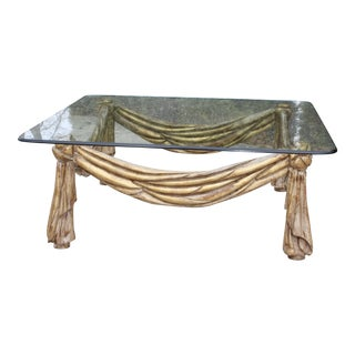 20th Century Italian Roman Greek Gold Brushed Carved Glass Coffee Table For Sale