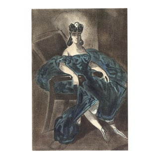 """LENA LECLERCQ Les Femmes dans l'atelier 14"""" x 10.25"""" Lithograph 1939 Blue For Sale"""