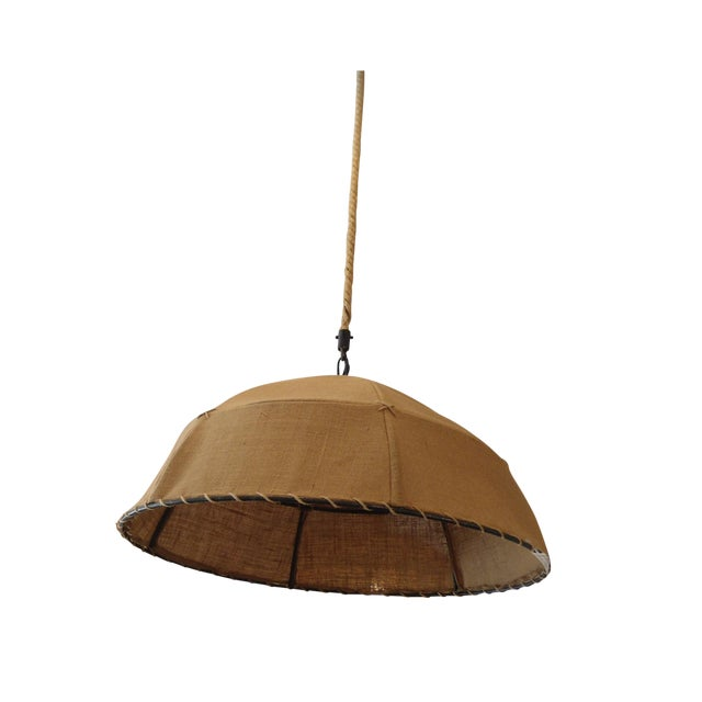 Restoration Hardware Burlap Pendant Light For Sale