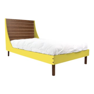 Nico & Yeye Minimo Full Panel Bedframe in Natural Walnut and Yellow For Sale