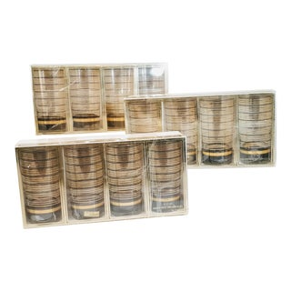 Vintage Striped Culver Mib Glasses Highball Tumblers - Set of 12 For Sale