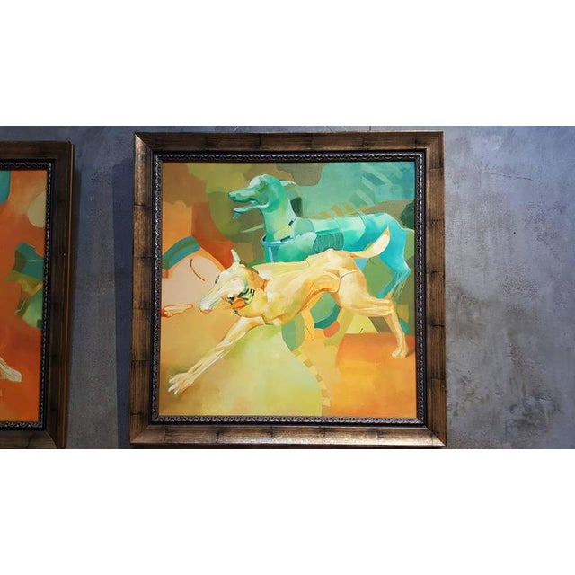 European Surrealist Painting of Dogs Paintings - a Pair For Sale In San Francisco - Image 6 of 8